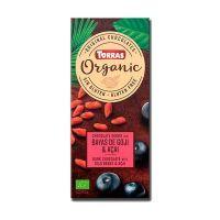 Dark chocolate with goji berries and organic acai - 100g