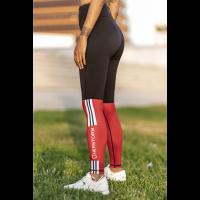 Bar layered workout legging dark red/black